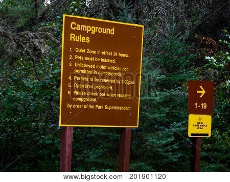 Campground Rules Sign In A Provincial Park