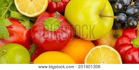 beautiful background of set of vegetables and fruits