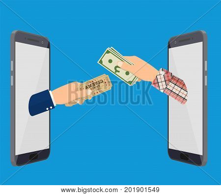 Online Ticket Order. Mans Hand With Ticket Appeared From Smartphone and another hand holding money. Vector illustration in flat style