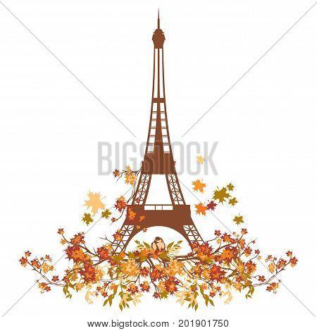 Eiffel tower and small bird among autumn branches - fall season in Paris vector design