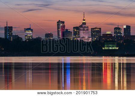 Sunset over Warsaw city and Vistula river Poland