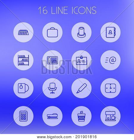 Collection Of Bookshelf, Coffee Maker, Book And Other Elements.  Set Of 16 Bureau Outline Icons Set.