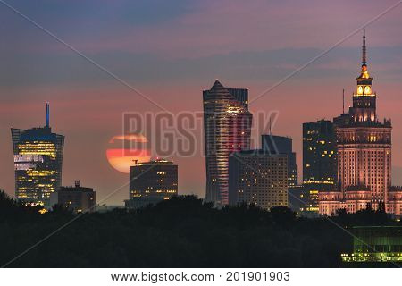 Sun over Warsaw city in summer time
