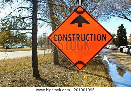Temporary Construction Ahead Sign On A Side Street