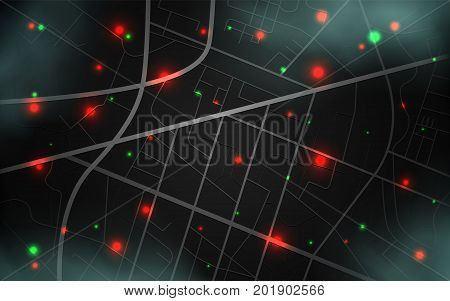 City map with location of objects. Spy technology background. Spy Screen for Search and Tracking. Satellite tracking or surveillance system. Vector illustration