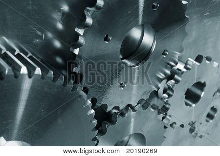 industrial titanium gears machinery, blue toning idea