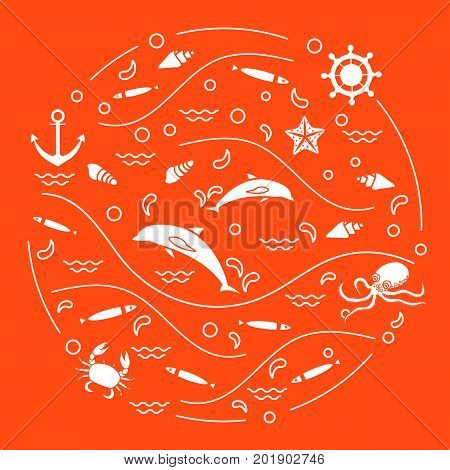 Cute Vector Illustration With Dolphins, Octopus, Fish, Anchor, Helm, Waves, Seashells, Starfish, Cra