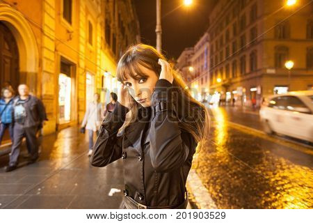 Roma, Italy. November 11, 2012. Woman In The Streets At Nigh