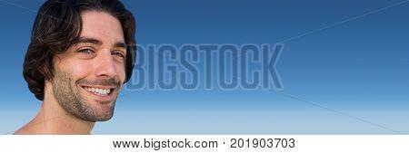 Digital composite of Portraiture of man against blue background