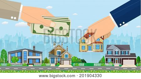 Human hand holding right house and money, exchange conceptual property for sale, real estate concept. Vector illustration in flat style