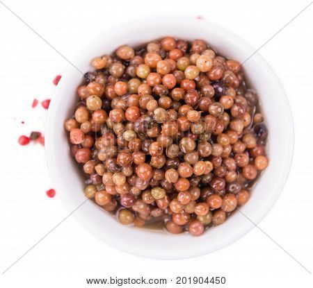 Portion Of Preserved Pink Peppercorns Isolated On White