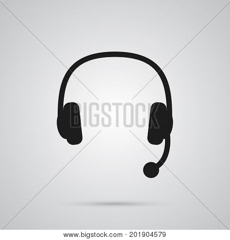 Vector Headset Element In Trendy Style.  Isolated Headphone Icon Symbol On Clean Background.