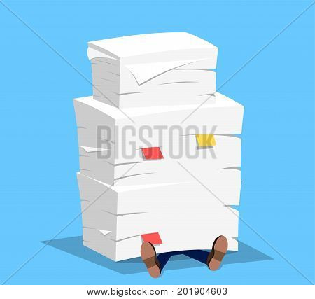 Businessman under the stack of paper. Vector illustration in flat style