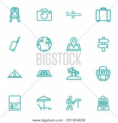 Collection Of Case, Foreigner, Certificate And Other Elements.  Set Of 16 Travel Outline Icons Set.