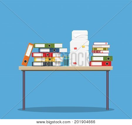 Busy cluttered office table. Hard work. Office interior with books, folders, papers on table. Vector illustration in flat style