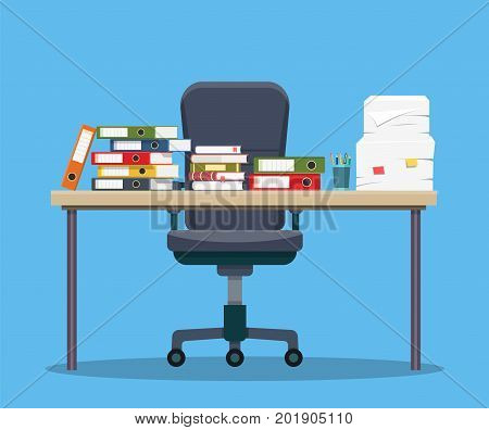 Busy cluttered office table. Hard work. Office interior with books, folders, papers on table and office chair. Vector illustration in flat style