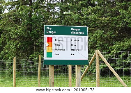 Fire Danger Sign Set With A High Risk Indicator