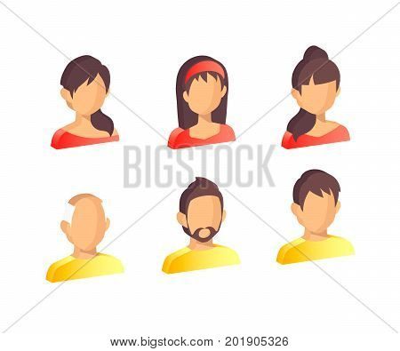 People Icon Isolated Background. Set isometric icons of people: man, woman, child, girl, old man. User sign icon. Person symbol.