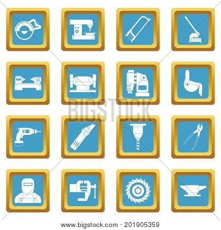 Metal working icons set in azur color isolated vector illustration for web and any design