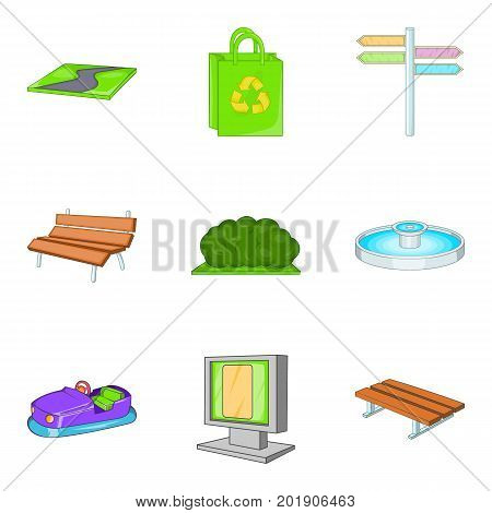 Amusement park icons set. Cartoon set of 9 amusement park vector icons for web isolated on white background