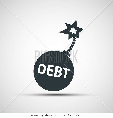Round bomb with a burning wick and word debt. Loan and credit. Stock vector illustration.