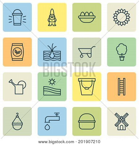 Gardening Icons Set. Collection Of Spigot, Plant Seeds, Mill And Other Elements