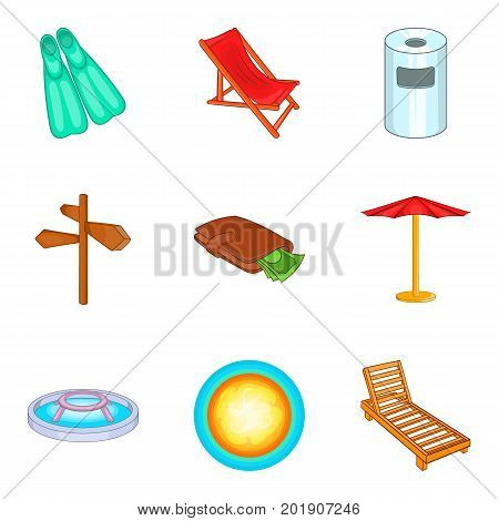 Pool icons set. Cartoon set of 9 pool vector icons for web isolated on white background