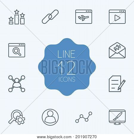 Collection Of Video Marketing, Copyright, Stock Exchange And Other Elements.  Set Of 12 Search Outline Icons Set.