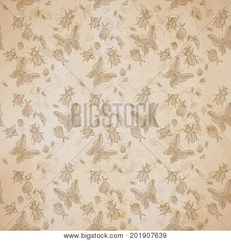 Vintage natural seamless pattern with small insects on flowery decorative background vector illustration