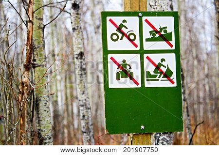 No Recreational Vehicles Sign Along A Campsite Road