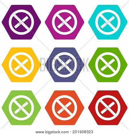 Sign prohibiting smoking icon set many color hexahedron isolated on white vector illustration
