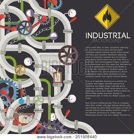 Industrial mechanism concept with text steel pipeline valves taps chain gear tubes on dark background vector illustration