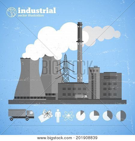 Manufacturing plant background with building chimney harmful emissions and truck people environmental diagrams icons isolated vector illustration
