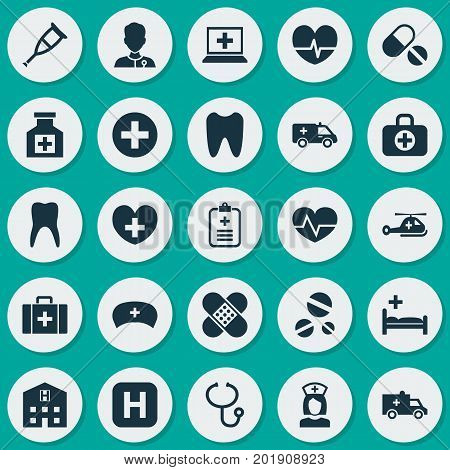 Medicine Icons Set. Collection Of Cure, Bus, Chest And Other Elements