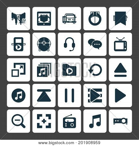 Multimedia Icons Set. Collection Of E-Reader, Refresh, Tuner And Other Elements