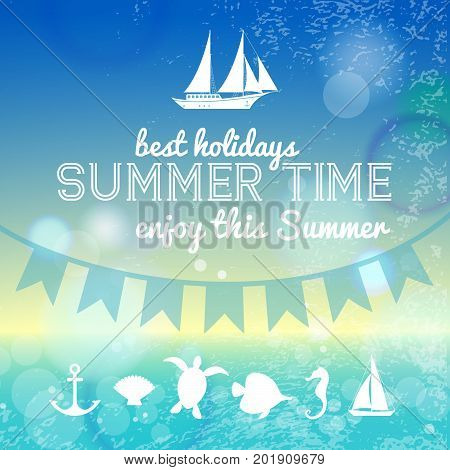 Summer time background with sea landscape in sunny glare and nautical cartoon icons flat vector Illustration