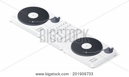 DJ turntables and mixer panel isolated on white background. Isometric Vector illustration