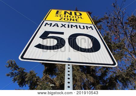 Speed Limit Sign At End Of School Zone