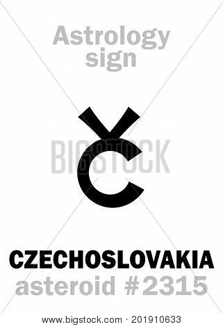 Astrology Alphabet: CZECHOSLOVAKIA, asteroid #2315. Hieroglyphics character sign (single symbol).