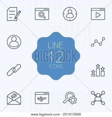 Collection Of Video Marketing, Landing Page, Stock Exchange Elements.  Set Of 12 Engine Outline Icons Set.