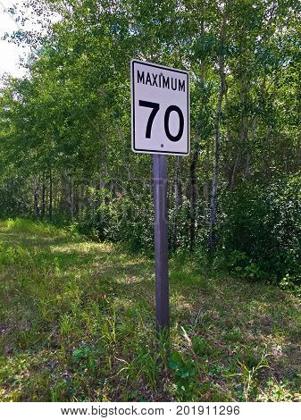 A Maximum Seventy Kilometer Per Hour Sign.
