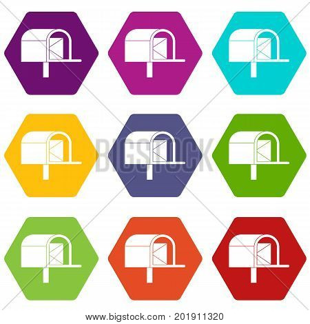 Mailbox icon set many color hexahedron isolated on white vector illustration
