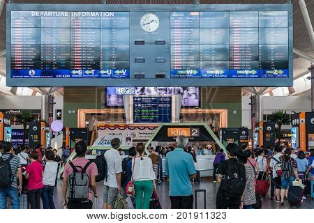 Departure Board In Kl International Airport. Departure Hall Malaysia