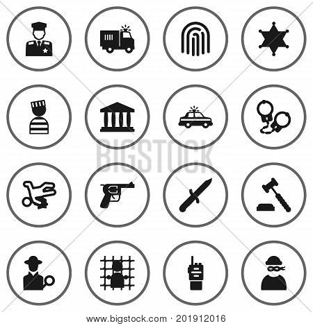 Collection Of Manacles, Thief, Truck And Other Elements.  Set Of 16 Criminal Icons Set.