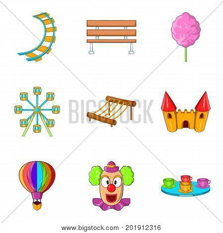 Hippodrome icons set. Cartoon set of 9 hippodrome vector icons for web isolated on white background