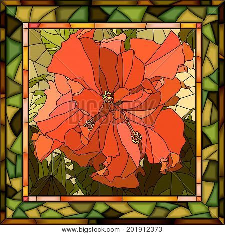 Vector mosaic of brightly red hibiscus (Chinese rose) on green in square stained-glass window frame.