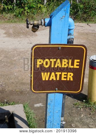 A potable water station at a campground.