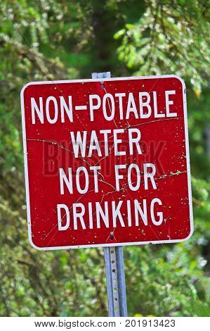 A non-potable water not for drinking sign
