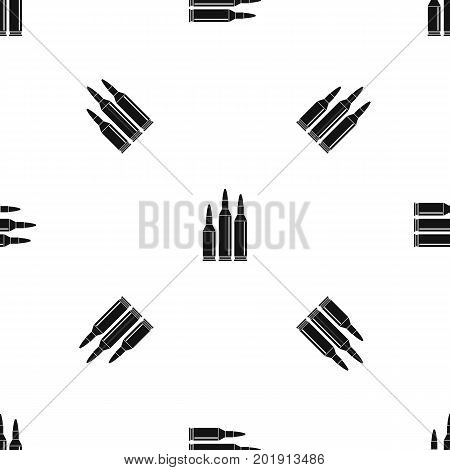 Bullet ammunition pattern repeat seamless in black color for any design. Vector geometric illustration