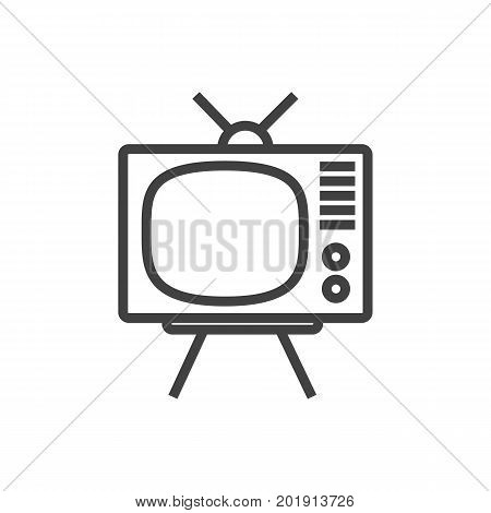 Vector Tv Set  Element In Trendy Style.  Isolated Television Outline Symbol On Clean Background.